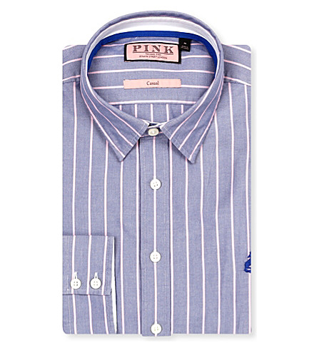 THOMAS PINK William regular-fit button-cuff shirt (Blue/pink