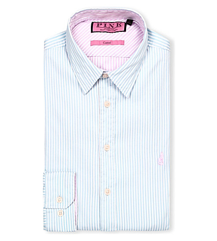 THOMAS PINK Albin regular-fit single-cuff shirt (Pale blue/pink