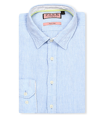 THOMAS PINK Malcolm regular-fit single-cuff linen shirt (Pale+blue