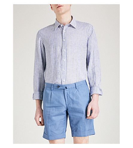 THOMAS PINK Tennent striped classic-fit linen shirt (Navy/white
