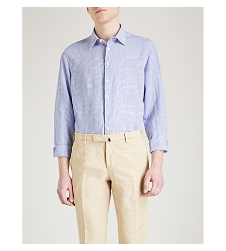 THOMAS PINK Arnor checked classic-fit linen shirt (Blue/white