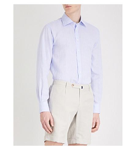 THOMAS PINK Mersey classic-fit linen shirt (Pale+blue
