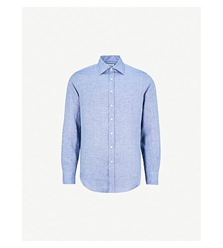 THOMAS PINK Mersey classic-fit linen shirt (Deep+blue