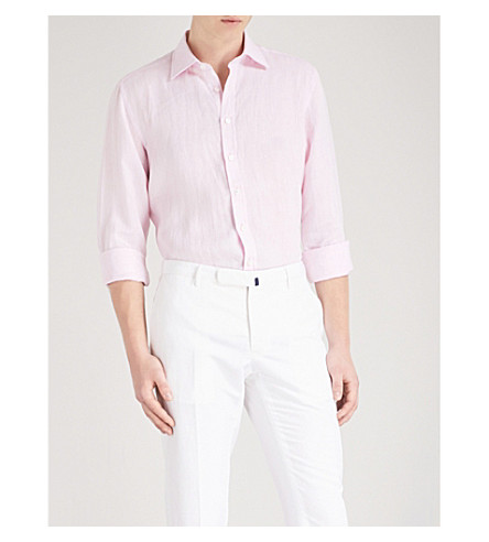 THOMAS PINK Mersey slim-fit linen shirt (Pale+pink