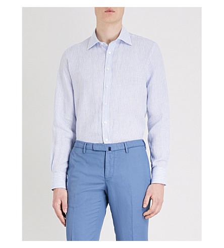 THOMAS PINK Ash striped classic-fit linen shirt (White/blue