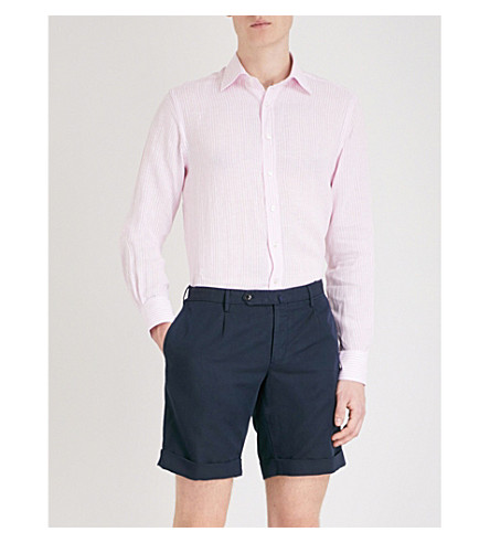 THOMAS PINK Ash striped classic-fit linen shirt (White/pink