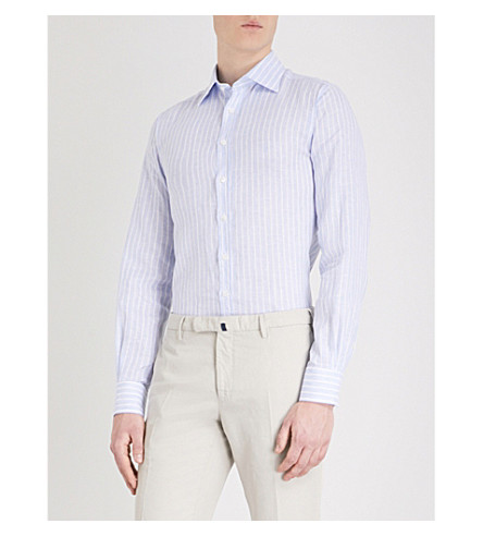 THOMAS PINK Eamont striped classic-fit linen shirt (Blue/white
