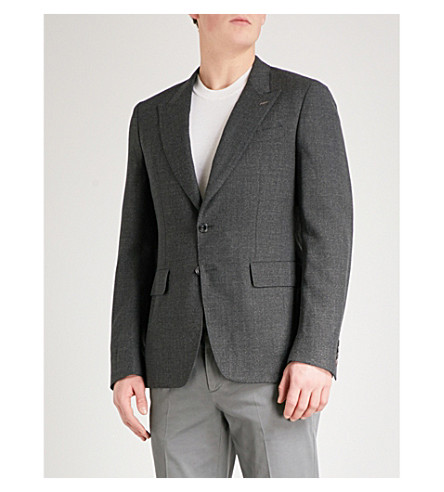 THOMAS PINK Hale single-breasted slim-fit wool jacket (Charcoal