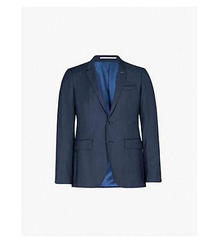 THOMAS PINK Burford checked slim-fit wool jacket (Navy/black