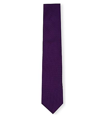 THOMAS PINK Newham Plain silk tie (Purple