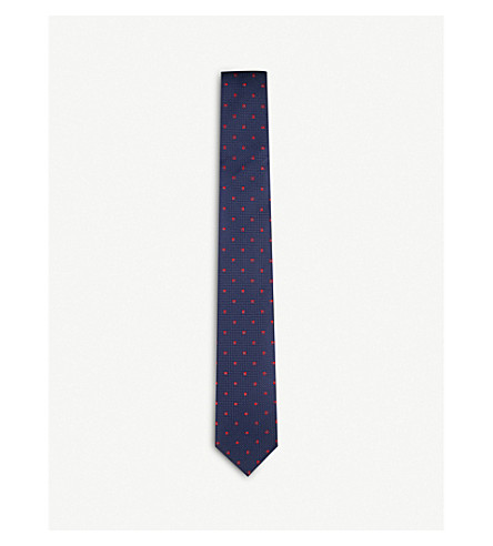 THOMAS PINK Tilbury spot woven silk tie (Navy/red