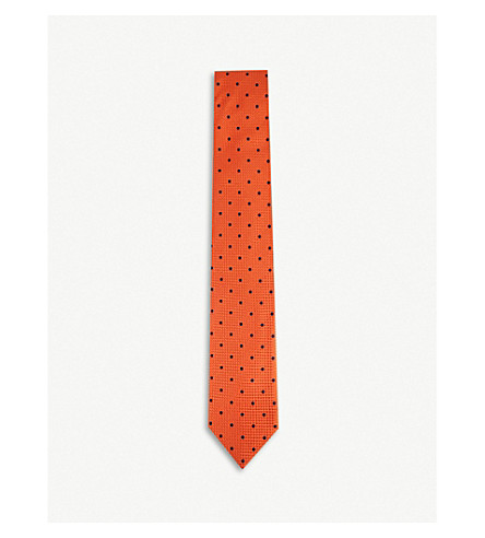 THOMAS PINK Tilbury silk tie (Orange/blue