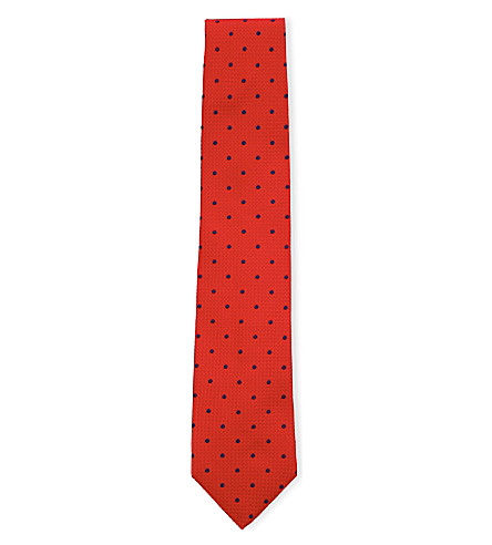THOMAS PINK Tilbury silk tie (Red/navy