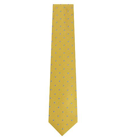 THOMAS PINK Tilbury spot woven silk tie (Gold/blue