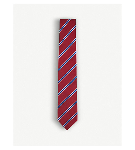 THOMAS PINK Sudbury silk tie (Red/navy