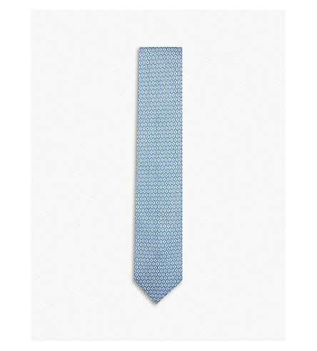 THOMAS PINK Lisbet Geo woven silk tie (Blue/white