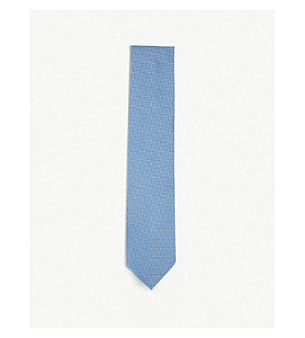 THOMAS PINK Andrew neat woven silk tie (Pale+blue/grey