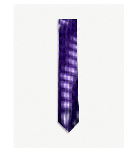 THOMAS PINK Knightley check-print silk tie (Purple/sky