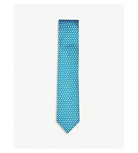 THOMAS PINK Elephant Family print silk tie (Teal
