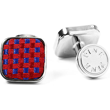 THOMAS PINK Gordon Check cufflinks (Navy/pink