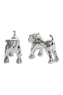THOMAS PINK Bulldog silver-plated cufflinks