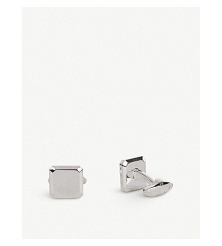 THOMAS PINK Bevelled Square Sterling Silver Cufflinks (Silver