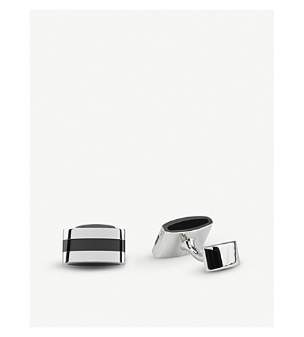 THOMAS PINK Hercules Sterling Silver Cufflinks (Silver/black