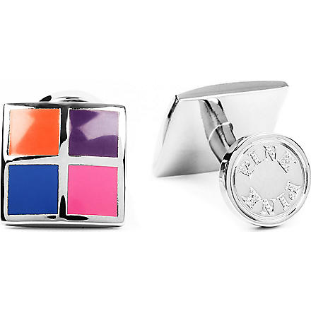 THOMAS PINK Four Panel cufflinks (Pink/blue