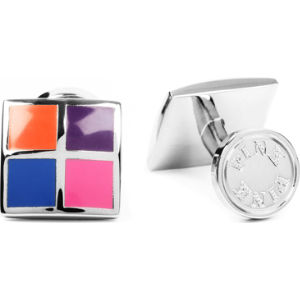 Four panel silver-plated cufflinks