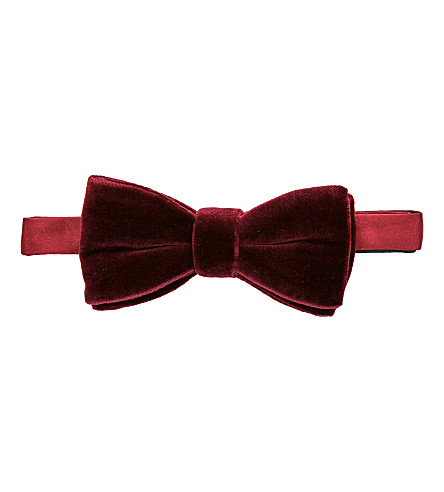 THOMAS PINK Ready-to-wear velvet bow tie (Burgundy