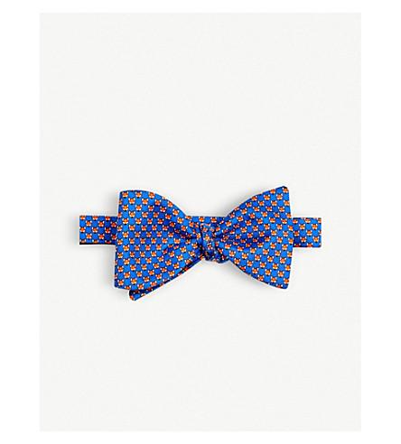 THOMAS PINK Arctic Fox silk bow tie (Blue/orange