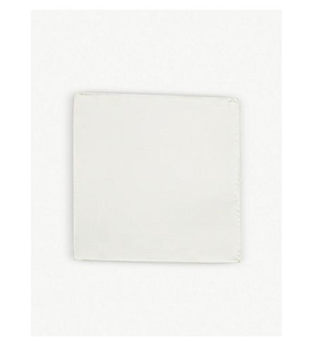 THOMAS PINK Woven silk pocket square (Ivory