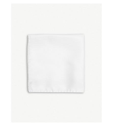 THOMAS PINK Woven silk pocket square (White