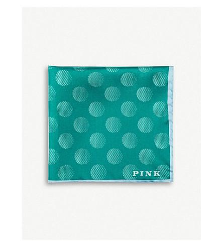 THOMAS PINK Ulla dot print pocket square (Green/blue