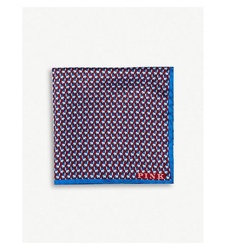 THOMAS PINK Elephant-print silk pocket square (Red/blue