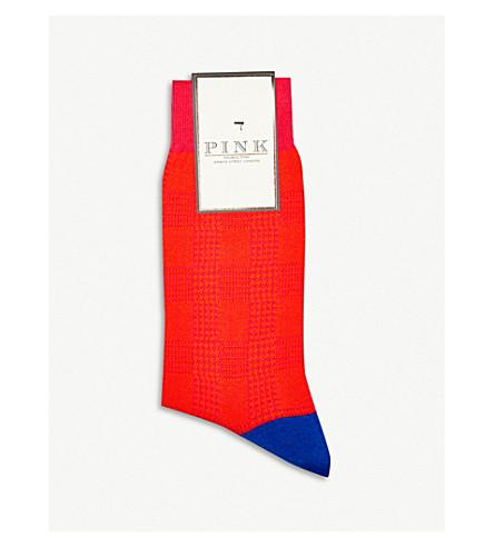 THOMAS PINK Ulffson dogtooth cotton-blend socks (Orange/blue