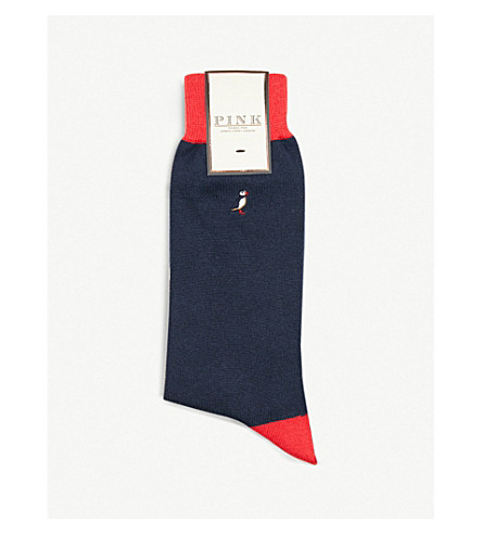 THOMAS PINK Puffin cotton-blend socks (Navy/red