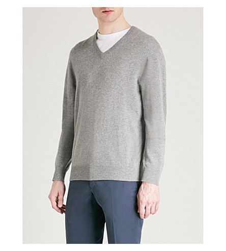THOMAS PINK Kender V-neck cashmere jumper (Grey