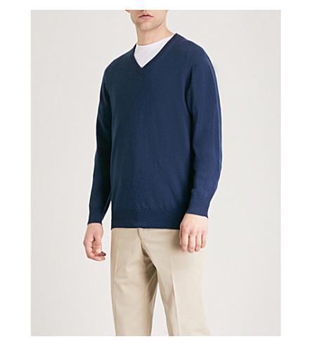 THOMAS PINK Kender V-neck cashmere jumper (Navy