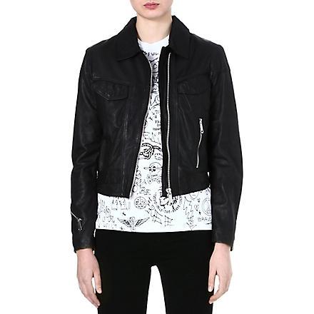 DIESEL Zip leather jacket (Black