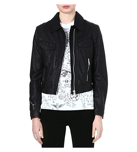DIESEL Zip leather jacket (Black