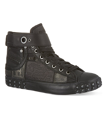 DIESEL Reboot leather hi-top trainers (Black