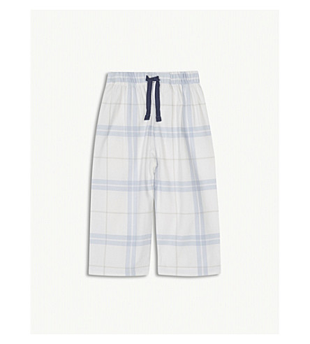 THE LITTLE WHITE COMPANY Anchor check cotton pyjama bottoms 1-6 years (Blue