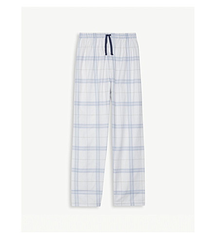 THE LITTLE WHITE COMPANY Checked cotton pyjama bottoms 7-12 years (Blue