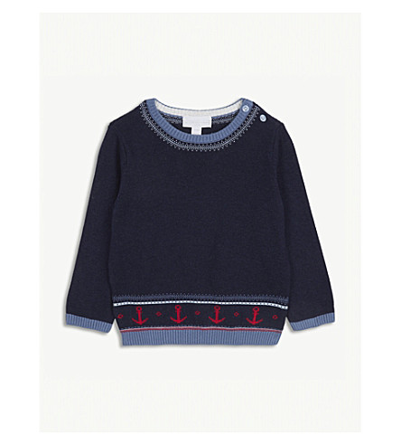THE LITTLE WHITE COMPANY Anchor Fair Isle cotton jumper 0-24 months (Navy+marl