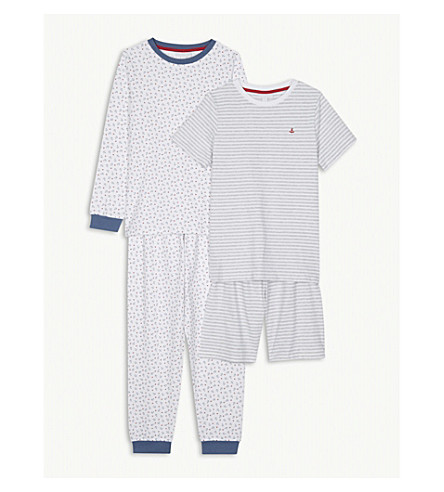 THE LITTLE WHITE COMPANY Anchor print striped cotton pyjamas 7-12 years (Multi