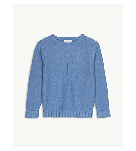 THE LITTLE WHITE COMPANY Anchor motif knitted cotton jumper 1-6 years (Blue