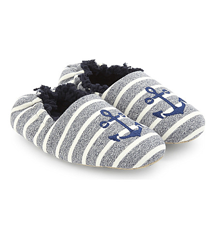 THE LITTLE WHITE COMPANY Anchor stripe slippers (Blue