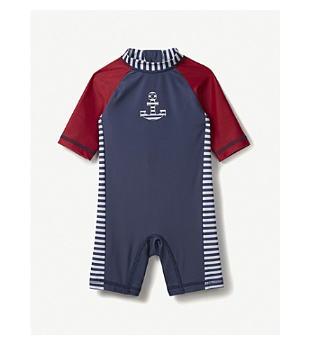 THE LITTLE WHITE COMPANY Anchor all-in-one surfsuit 0-24 months (Navy