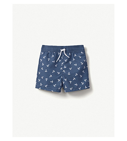 THE LITTLE WHITE COMPANY Anchor swim shorts 0-24 months (Navy